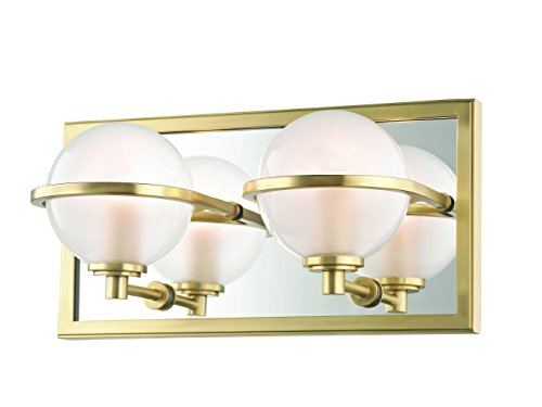(Hudson Valley Lighting Hudson Valley 6442-AGB Contemporary Modern Two Light Bath Bracket from Axiom Collection in Brass-Antiquefinish 10, Polished Nickel Finish)