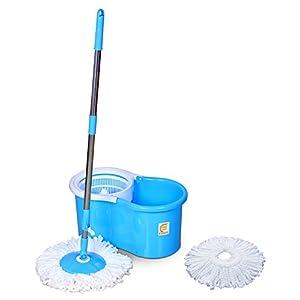 Esquire Elegant Spin Plastic Mop with 1 Extra Refill (46 cm x 26 cm x 23 cm, Blue)
