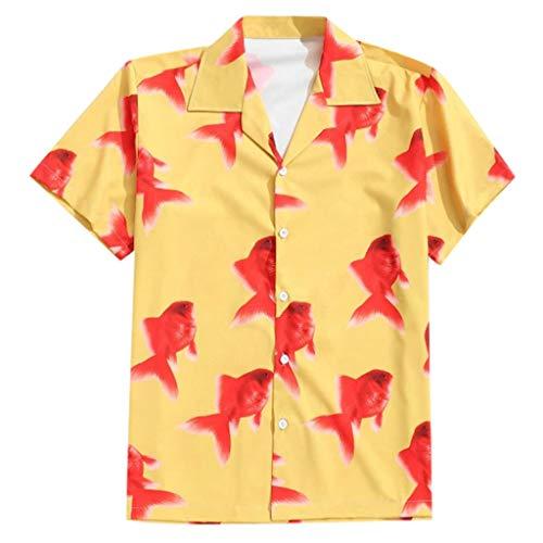 GDJGTA T-Shirt for Mens Hawaiian Shirt Summer Lapel Bird Leaf Print Short Sleeve Top Blouse