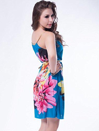 NEW Mesdames robe d'été sans manches avec ceinture Motif floral Bleu/Club Parti Porter robes Taille M 10–12–EU 38–40