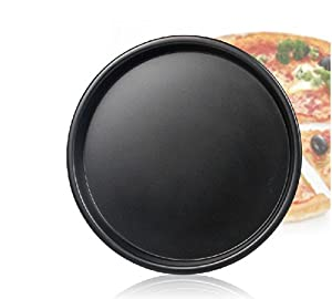 Meleg Otthon Heavy Duty Deep Dish Round Pizza Pan Cast Iron,Commercial Baking Pizza Pan Steel, Pizza Tray Set Nonstick ,Professional Pizza Serving Plates Trays Set