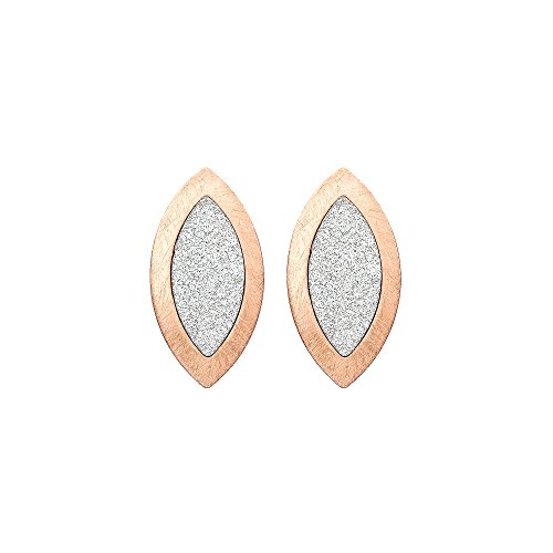 Almond Shaped Earrings - Brushed Rose Gold Tone and Sparkle Finish Almond Shaped Drop Earrings
