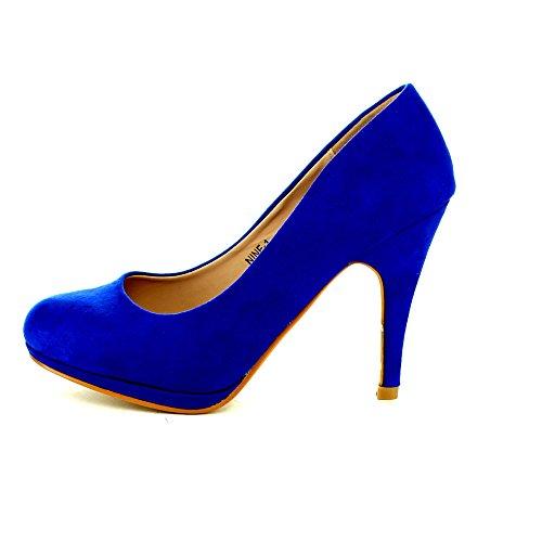 Bellamarie Negen-1 Dames Suède Amandel Teen Klassieke Pumps Stiletto Feestjurk Hak Blauw