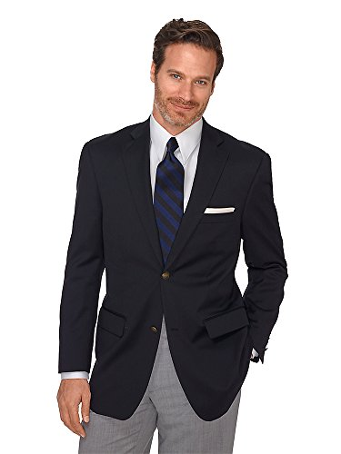 Paul Fredrick Men's 100% Wool Two-Button Travel Blazer Black 52 Regular by Paul Fredrick