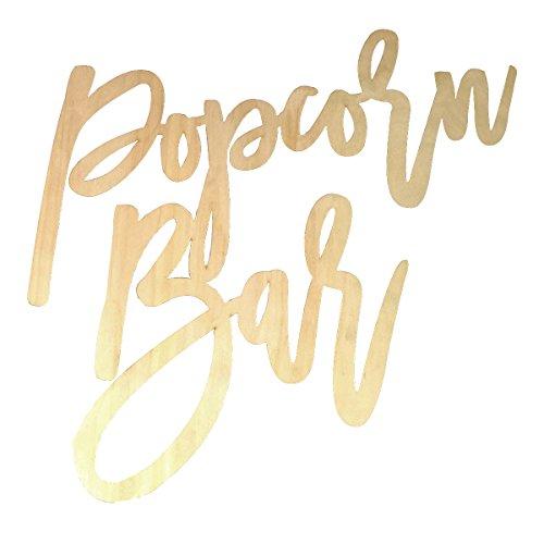 (BESTOYARD Wedding Decor Popcorn Bar Letters Wooden Decor Signs for Party Birthday Festival)