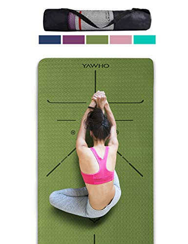 YAWHO Yoga Mat Fitness Mat Eco Friendly Material SGS Certified Ingredients TPE Specifications 72'' x 26'' Thickness 1/4-Inch Non-Slip Extra Large Yoga Mat with Carry Strap and Carry Bag (Green)