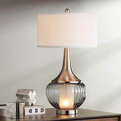 Courtney Modern Table Lamp with Nightlight Fluted Smoked Glass Brushed Nickel White Linen Drum Shade for Living Room Family - 360 Lighting