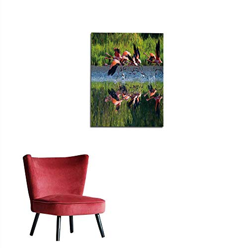 longbuyer Photographic Wallpaper Caribbean Flamingos Flying Over Water