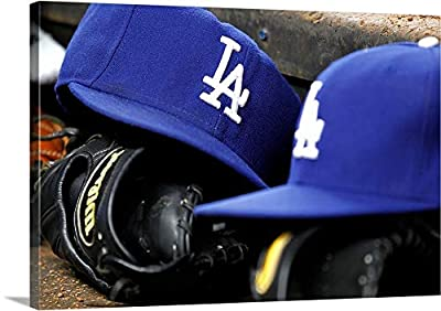"""Hats The Los Angeles Dodgers - Canvas Wall Art Gallery Wrapped Ready to Hang - 36""""x24"""""""