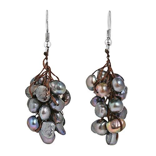 Hanging Cluster of Cultured Freshwater Black Pearl Dangle Earrings