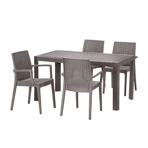【ガーデンテーブル チェア セット ラタン調 庭】ステラテーブルチェア(肘つき)5点セット グレー(BF-017-5B-S2) B01C453Y5G  グレー