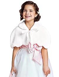 EllieHouse Girls Faux Fur Wrap Bolero Shawl Kid Wedding Jacket KJ04