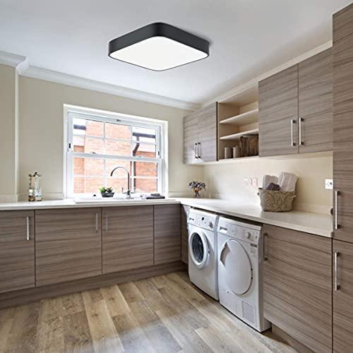 LED Lampe Schwarz Deckenleuchte bad 24w 4000K Neutralweiß LED Lampen Deckenlampen für Küche Schlafzimmer Wohnzimmer Esszimmer Balkon Flur Moderne Lampen [Energieklasse A++] (24)