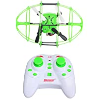 YYGIFT 2.4GHz 6-Axis Gyro 3D Flight Climbing Wall Roller RC Quadcopter Drone UFO with LED Lights and Green Rugby Ball Design Protective Cover,Nice Gift for Both Kids and Adults