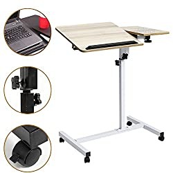 Adjustable Laptop Desk Computer Stand Table Black Sofa Bedside Table, Adjustable Height Sturdy Notebook Computer Desk Cart With Wheels (Cherry)