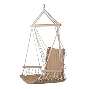 Amazon.com : Prime Garden Hanging Rope Chair Cotton Padded ...