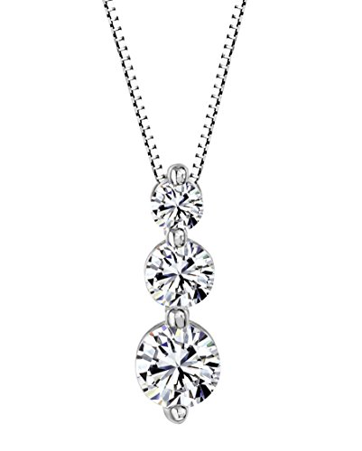 Solstice Sterling Silver 925 Round 3-Stone Pendant Made with Swarovski Zirconia (0.90 cttw)