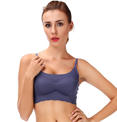 DODOING Women One Piece Traceless Shockproof Sleep Bra Push up Wireless Sport Crop Top