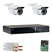 GW Security VDG2C50HDSDI 4 Channel HD-SDI 1080P Camera System with 2 x 2.1 MP 1080P Varifocal Zoom Outdoor Cameras and 500GB Hard Drive (Grey)