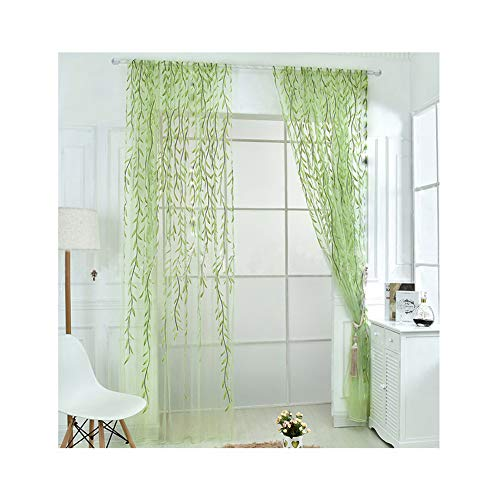 Rely2016 2 Pieces Green Color Willow Voile Tulle Room Window Curtain Salix Leaf Sheer Voile Panel Drapes Curtain (100 x 270cm) (Green Bedroom Decor)