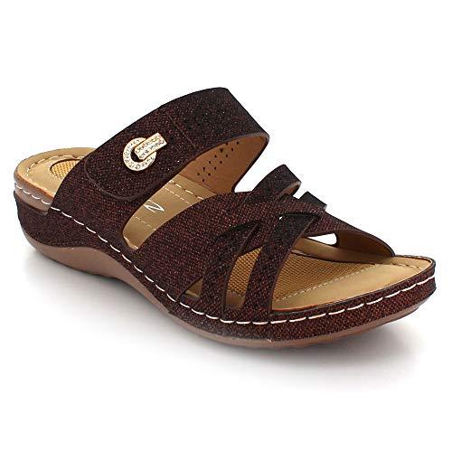 Día Comodidad Zapatos Casual Tacón Cada Verano Abierta Marrón Tamaño Sandalias Ligero Ponerse Cuña Mujer Señoras Punta De qwCSxI0