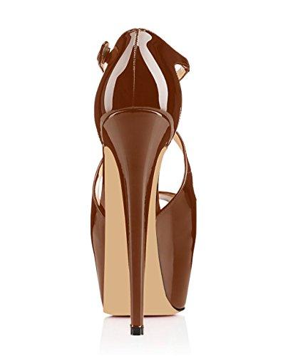 Classiche Tacco Donna 15cm Toe Peep Scarpe Cross Strap Marrone Plateau Criss Elashe Col Da Con Xq8ta