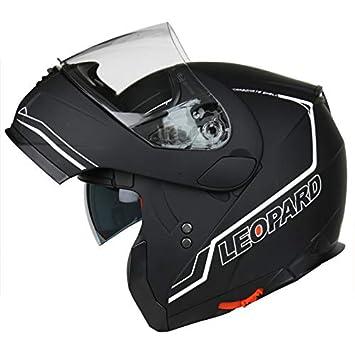 Leopard LEO-838 Safari Motorradhelm Klapphelme Straß e legal mit Doppelte Sonnenblende - Schwarz Rot M (57-58cm) Touch Global Ltd