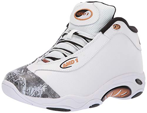 AND 1 Men's Tai Chi LX Sneaker, White/Mixtape Graffiti/Copper, 11 Medium US