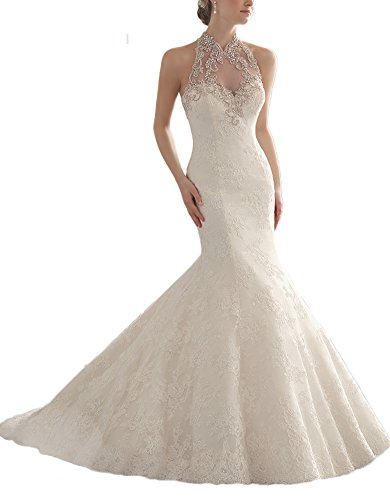 DAPENE Women's Sleeveless Tunic Court Train Wedding Dress 26 W Ivory