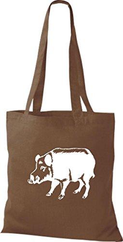 Shirtstown - Bolso de tela de algodón para mujer Marrón - mittelbraun