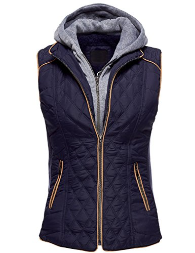 Winter Quilted Lightweight Hooded Fur Lined Vests, Large, 071-Navy