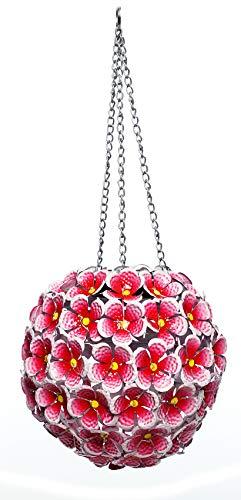 Alpine Corporation Solar Metal Hanging Hydrangea Ornament -70 LED Lights - Outdoor Garden Decor - Red