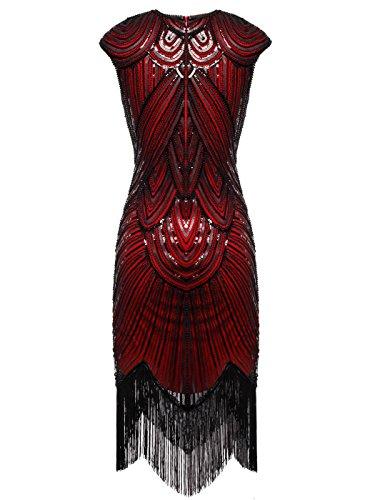 Kleid Burgunder Falten Schwarz FAIRY Quasten verschönert 1920 D20S002 COUPLE Pailletten Flapper Aq0zTw