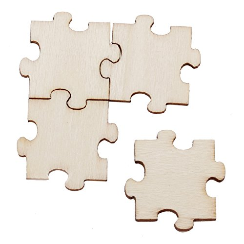 50 PCS Puzzle Pieces of Wood Double-sided Hand DIY Pieces Wedding Christmas Party Decoration