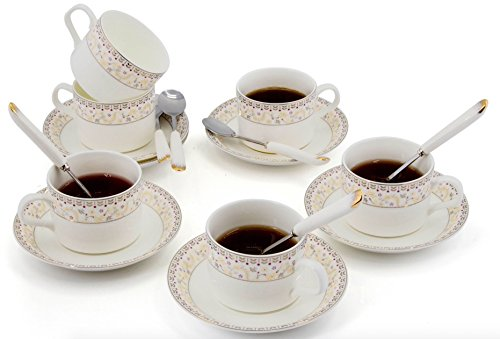 Porcelain Tea Cup and Saucer Set Coffee Cup with Saucer and Spoon 18 pc, Set of 6 (Floral)