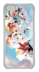 iPhone 5c case, Cute White Cherry Blossoms iPhone 5c Cover, iPhone 5c Cases, Hard Clear iPhone 5c Covers