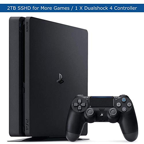 Sony Playstation 4 Slim Upgraded 2TB SSHD Video Game Console with DualShock 4 Wireless Jet Black Controller for PS4