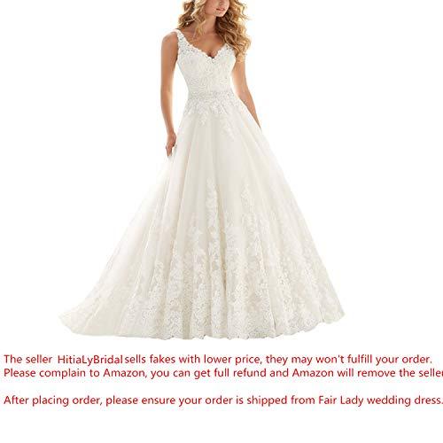 Lace Wedding Dress - Fair Lady Lace V Neck Wedding Dress Beaded Bridal Dresses Appliques Straps Wedding Gown