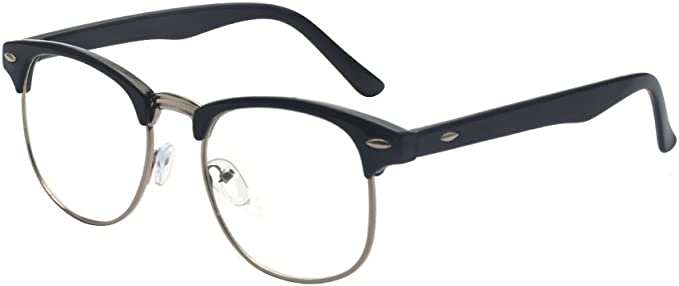 1940s UK and Europe Men's Clothing – WW2, Swing Dance, Goodwin Outray Vintage Classic Half Frame Semi-Rimless Clear Lens Glasses £8.99 AT vintagedancer.com