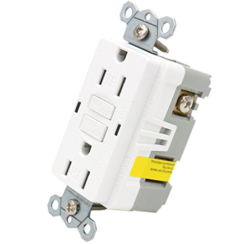 Baomain GFCI Receptacle 15Amp 120VAC 60Hz Tamper-Resistant Outlet, Ground Fault Circuit Interruptor, LED indicator UL&CUL listed White