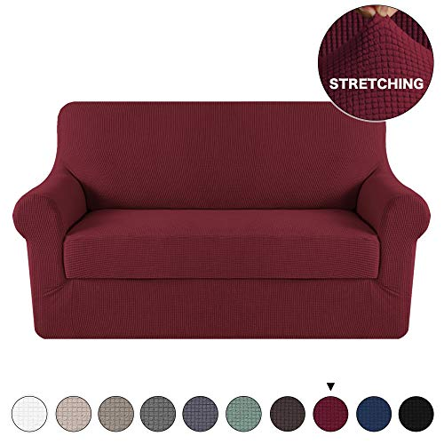 - Sofa Cover 2 Piece Couch Covers with Elastic Bottom Durable Loveseat Stretch Slipcovers, Slip Resistant Sofa Furniture Protector/Couch Slipcover Spandex Jacquard Fabric (Loveseat, Burgundy)