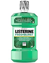Listerine Freshburst Antiseptic Mouthwash with Oral Care Formula to Kill 99% of Germs that Cause Bad Breath & Fight Plaque & Gingivitis, ADA Accepted Mouthwash, Spearmint Flavor, 1 L