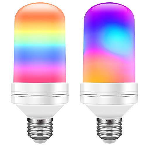 Govee LED Flame Effect Light Bulb, Flickering RGB Decorative Fire Light Bulb with Upside Down Effect Simulated, E26 2W 3 Modes LED Bulb for Christmas Indoor/Outdoor Hotel Bars Home Restaurants -2 Pack