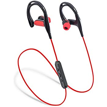 Laud Sports Bluetooth Wireless In-Ear Headphones - Premium HD Sound - Noise Cancelling Stereo Headset + Mic & Controls - Sweatproof Earphones - For Gym Workouts, Running (Red / Black)