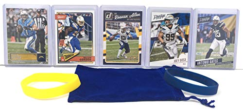 Los Angeles Chargers Cards: Philip Rivers, Melvin Gordon, Keenan Allen, Antonio Gates, Joey Bosa ASSORTED Football Trading Card and Wristbands Bundle
