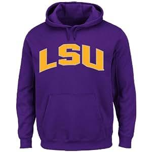 NCAA Louisiana State University Men's Cheering Them Long Sleeve Hooded Pullover Jacket, Dark Purple, Small