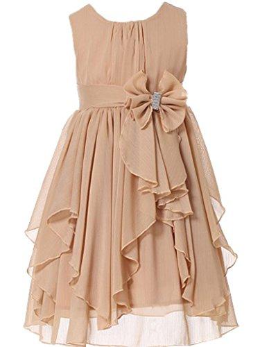 Bow Dream Flower Girl Dress Bridesmaid Ruffled Chiffon