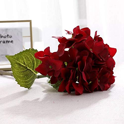 Dilove Artificial Flowers, DIY Silk Hydrangea Bouquet Fake Plants, Wedding Garden Party Home Decor, 3 Pcs (Hy-Red)
