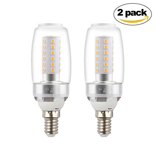 Betorcy E12 7W Corn Light Bulb, Candelabra LED Bulb, Warm White 2700K, 80 Watt Equivalent, For Home, Shop, Hotel, Art Lighting, Pack of 2