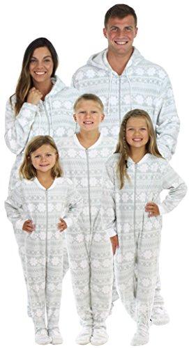 SleepytimePjs Family Matching Grey Snowflake Onesie PJs Footed Pajamas Women's Grey Snowflake – (STM17-3020-W-MED) (Adult Onsie With Feet)
